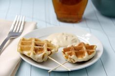 Crunchy Chicken Stuffed Waffle Pops and Maple Dijon Dip | These chicken and waffles on a stick are the perfect gameday treat!