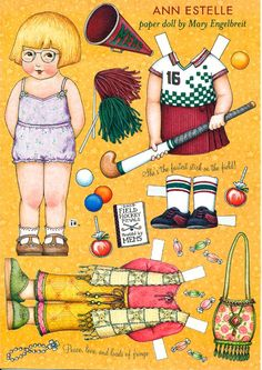 Uncut Paper Doll by Mary Engelbreit Ann Estelle Plays Hockey