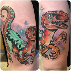 "rizzabootattoos: "" First day tattooing at @everlastingtattoo813 in San Francisco. Worked on this giant space raptor today for Mackinzie. I took bad photos and it wraps a lot, but you get the idea. Thanks for looking#sanfranciscobaby #dinosfordayz..."