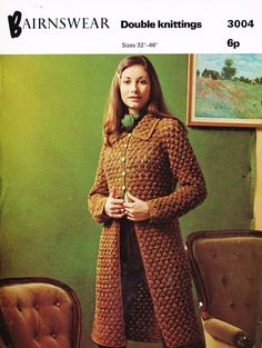 Long length ladies coat - with collar    vintage crochet pattern delivered to you as a PDF upon payment    Double knitting yarn and to fit fit sizes