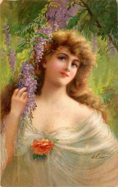 Emile Vernon Portrait Of A Woman Oil Painting Reproductions for sale Vernon, Vintage Greeting Cards, Vintage Postcards, Vintage Images, Victorian Art, Victorian Women, Munier, Girls With Flowers, Female Pictures