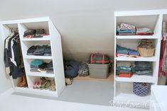 36 New ideas for kids storage closet laundry rooms Teen Room Storage, Closet Storage, Kids Storage, Bedroom Storage, Master Closet, Closet Bedroom, Slanted Ceiling Closet, Laundry Closet, Laundry Rooms
