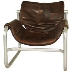 Midcentury leather sling lounge chair by Maurice Burke for Pozza, Brazil Outdoor Furniture Chairs, Old Chairs, Vintage Chairs, Metal Chairs, Modern Furniture, White Leather Dining Chairs, Leather Lounge, Diy Chair, Chair Fabric