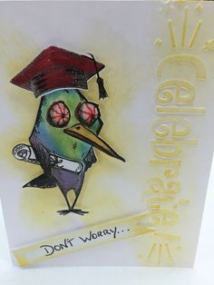 Tim holtz crazy birds graduation card outside