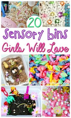 20+ sensory bins for girls. Adorable themes, including ponies, flowers, princesses, and more! Perfect for hands-on homeschooling. http://embracingdestinyblog.com