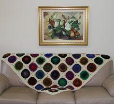 Crochet afghan crochet blanket multicolour throw by JilaCrochet