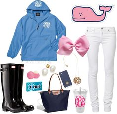 Rainy day by preppyinpink14 featuring a monogram necklace ❤ liked on PolyvoreColumbia light weight rain jacket / Kaporal slim cut jeans, $91 / Hunter black boots, $130 / Longchamp  tote / Stud earrings, $755 / Ginette_NY monogram necklace / Tory Burch  / Whale Sticker Vineyard Vines / Personalized Monogram Tumbler 20 oz with Interlocking Vines Monogram / Wrigley's Orbit Sugar-Free Wintermint Gum 14-pc.