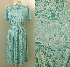 Vintage 70s Womens Spring Dress // Sea Green by FaceTheSunshine, $25.00
