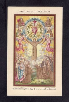 Antique Goldprint Holy Card ** Diplome of Third Order of S. Francois ** Augustin