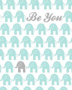 Mint Nursery Decor Mint Grey Elephant Poster by PaperPlanePrints