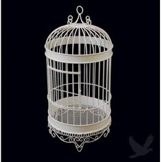 "$24.99   Elegant Bird Cage Money Card Holder / Money Box - White  Diameter  9.5""  x  Height 20"""
