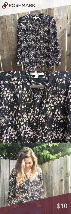 Heartfilled Blouse Lauren Conrad flowy black blouse w/ a heart design LC Lauren Conrad Tops Blouses