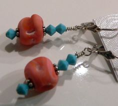 Coral and turquoise Swarovski sterling silver earrings by MandaJ, $13.00