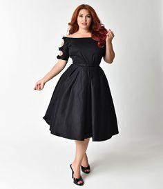 Unique Vintage Plus Size 1950s Bow Sleeve Selma Swing Dress