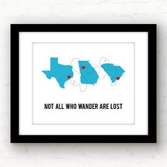 In this day and age, most of us have lived in more than one place. Weve all been there - the noisy U-Hauls, the dozens of boxes, and always seeming to lose a few things along the way... But one thing you always carry with you are memories. This print is fully customizable! Just let me know:  *Which 2-5 locations and cities youd like - countries can be included! *The color(s) youd like - please reference my color chart for best consistency *Any wording changes youd like  Easy peasy…