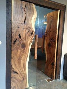 Doors of live-edge wood slabs and glass. Modern rustic design - Decoration for House Wood Furniture, Furniture Design, Furniture Removal, Furniture Outlet, Furniture Makeover, Furniture Ideas, Modern Furniture, The Doors, Front Doors