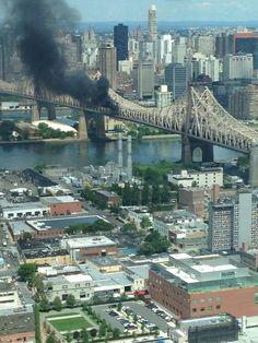 Vehicle On Fire On New York City's Queensboro Bridge Interesting News, New York City, Vehicle, Bridge, Fire, Water, Outdoor, Gripe Water, Outdoors