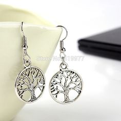 New Fashion Jewelry Vintage Tibetan Silver Life Tree Drop Earrings Best Friends Gift For Women Birthday Party Free Shipping