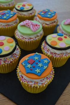 Vanilla cupcakes with vanilla butter cream. Topped with sugar fondant waistcoats, bow ties and Mr Tumble spots Kid Cupcakes, Themed Cupcakes, Baking Cupcakes, Vanilla Cupcakes, 3rd Birthday Cakes, 2nd Birthday Parties, Birthday Ideas, Fondant Cupcake Toppers, Cupcake Cakes