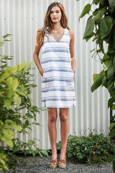 Lilla P Blue and White Stripe Shift Dress