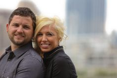 Engagement session with a couple with the Cincinnati skyline in the background. #Cincinnati #wedding #weddingstyle
