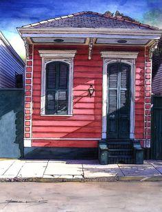 John Boles WATERCOLOR Red Shotgun House More
