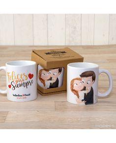 #Taza de cerámica con novios Pop & Fun de caricias personalizable