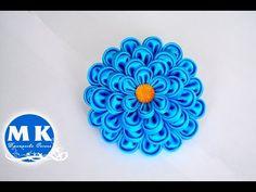 DIY. Kanzashi Flower scrunchy.The Flower from the satin ribbon.The FlowerTutorial - YouTube