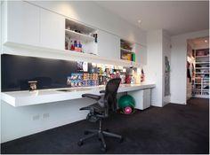 Floating Acrylic Desk, Blue Splashback, Charcoal Carpet, LED Lighting, Gloss White Cabinetry