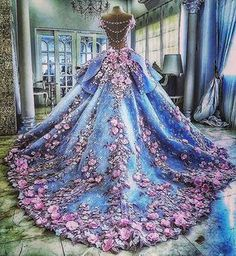 Custom Made Great Ball Gown Wedding Dresses Pretty Flowers Quinceanera Dresses, Ball Gown Long Backless Wedding Gowns Light Blue Quinceanera Dresses, Quinceanera Themes, Formal Dresses For Teens, Dress Formal, Dresses Dresses, Kohls Dresses, Casual Dresses, Dresses 2016, Dresses Online