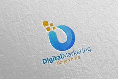 Digital Marketing Financial Logo 52 by denayunebgt on @creativemarket Marketing Logo, Digital Marketing, Financial Logo, Logos, Logo