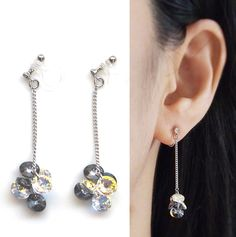 Swarovski Clip On Earrings Black Crystal Invisible Dangle Aurora Borealis Drop Ons Non Pierced