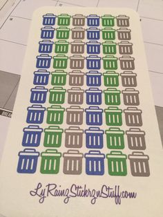 54 Small Blue, Green, Gray Garbage Cans for Passion Planner, Erin Condren by LyRainzStickrzNStuff on Etsy