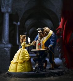 This exquisite sculpture is made in Great Britain at Border Fine Arts' Langholm-based studio. The #BeautyandTheBeast figurine is inspired by the iconic moment in the film when the Beast grants Belle her freedom to rescue her father. Every intricate detail of the moment was captured in the model including the magic surrounding the enchanted rose.