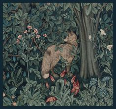 """Tapestry: Greenery"" (detail of fox) ~ Designed by John Henry Dearle for William Morris & Co., c.1892; wool and mohair.  Museum of Fine Arts, Boston"