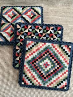 Needlepoint quilt coasters ~ canvases by Susan Roberts