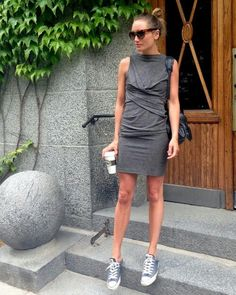 .I strangely like this idea of a somewhat formal dress with tennis shoes. but not in a weird teen prom kind of way