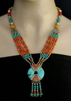 We are manufacturer ,This Necklace is Unique Tibetan design Necklace from Nepal. Handmade in Nepal. Very high quality handmade. This beautiful handmade NECKLACE is made of Coral and Turquoise stone.