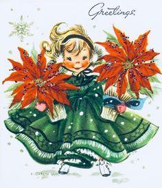 #retrochristmas, #christmasangel, Vintage Christmas Card, Retro Christmas Card, #christmasgreetings, #christmaspoinsettia