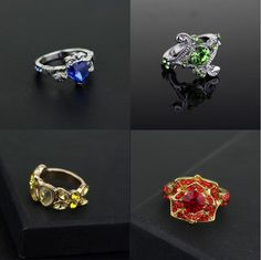 set of Harry Potter Hogwarts Slytherin Gryffindor Hufflepuff Ravenclaw Ring Anillo Harry Potter, Bijoux Harry Potter, Harry Potter Ring, Harry Potter Magic, Harry Potter Outfits, Harry Potter Hogwarts, Jewellery Rings, Fine Jewelry, Fashion Jewellery