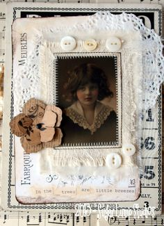 Little Breezes Altered OOAK Vintage Bingo Card with mop buttons.