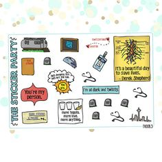 Greys Anatomy Planner Stickers | 3 Piece Deco & Flag Kit Whether youre binging Greys on Netflix or watching it live on #TGIT, youll love these handdrawn Greys Anatomy planner stickers. The kit comes with three sheets: one with doodled character portraits (including Meredith Grey,