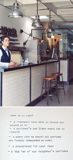 Le Labo, a perfume bar in NYC where every scent is made-to-order, while you wait.