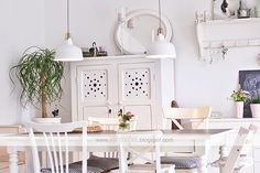 White & Shabby Living How beautiful is that cabinet?! And those lights! I love the blog Villa Josefina, she has the most beautiful home in shabby chic style. With the most beautiful vintage items and a gorgeous cat. I could look at these pictures for hours! This is a great attic bedroom space and that …