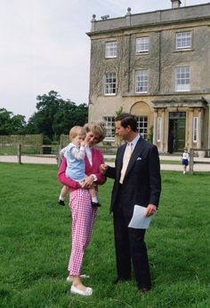 Princess Diana and Prince Charles With Harry outside their Highgrove home in Tetbury