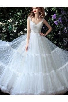 Tulle, Lace V-neck Floor Length Cap Sleeve Ball Gown Dress with Beads, Bow