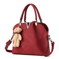 2017 Bear Women Leather Handbags Fashion Quilted Thread Shell Bags V Letter Ladies Tote Messenger Shoulder Bags bolsa feminina