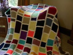 Multi Color Stained Glass Afghan by HomegrownWiLadyB on Etsy