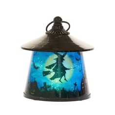 Witch Lantern with Rotating Halloween Scene - LED