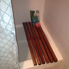 DIY 'spa' bath bench using 1x1 redwood planks are cheap at Home Depot. Great for the guest bath. #diy #homemade #homedecor #home...